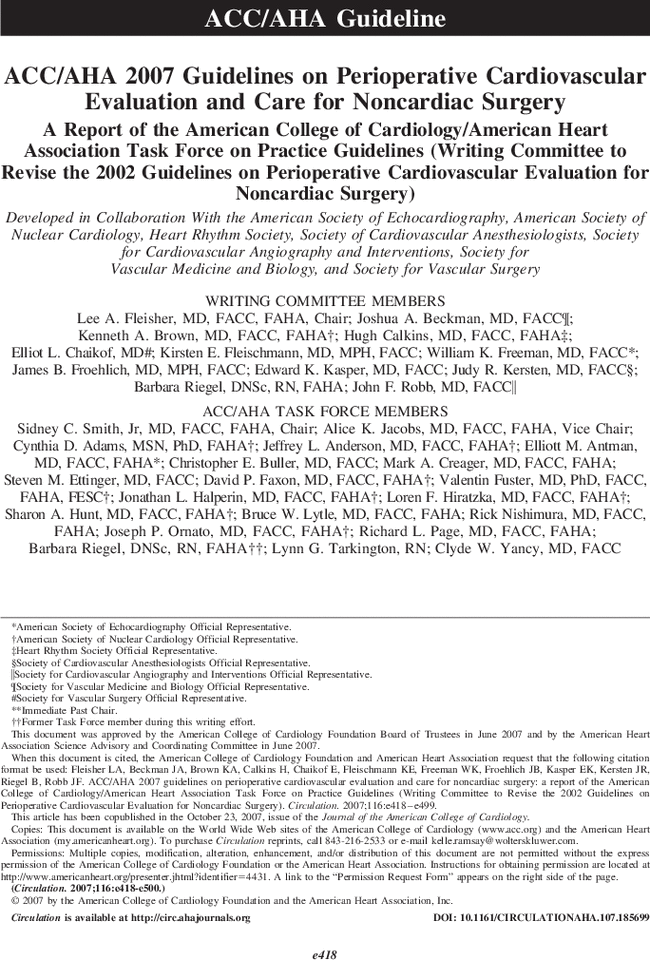 ACC AHA 2007 Guidelines On Perioperative Cardiovascular Evaluation