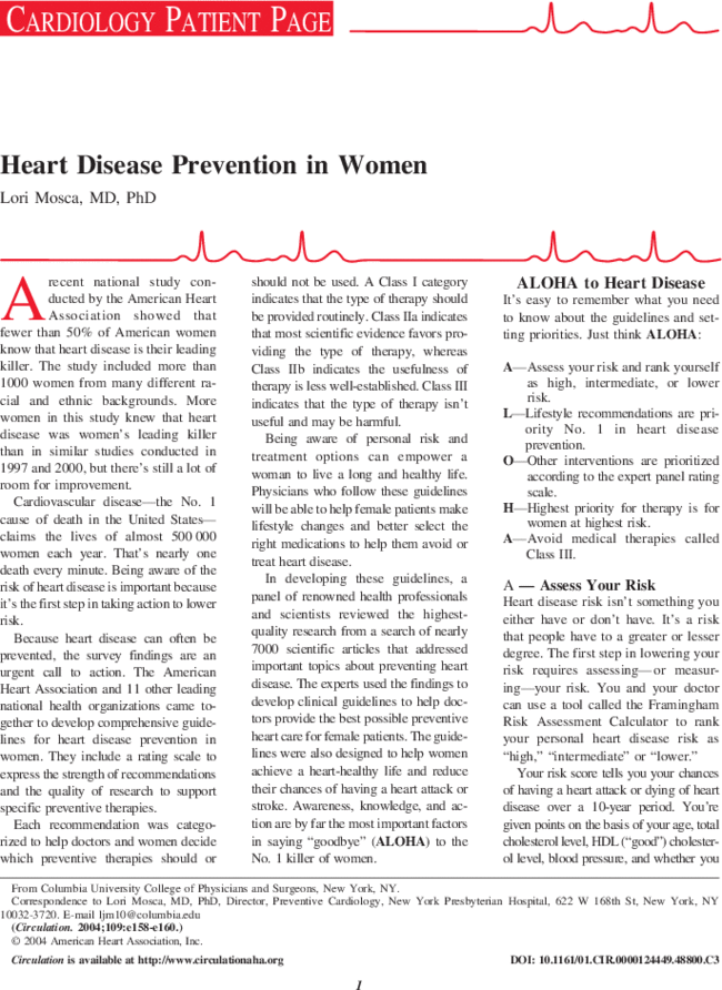 Heart Disease Prevention in Women | Circulation