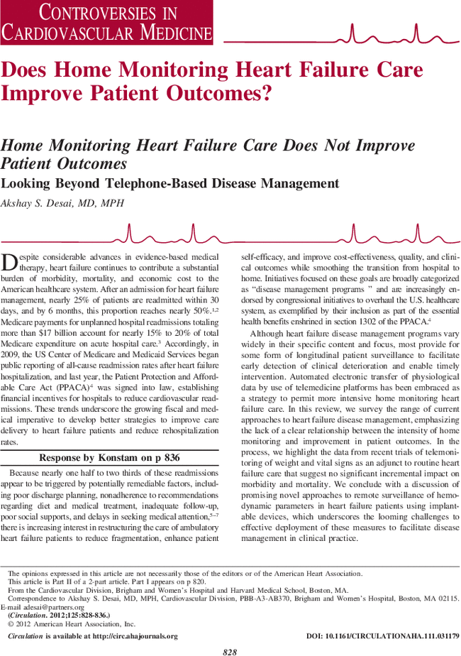Home Monitoring Heart Failure Care Does Not Improve Patient Outcomes