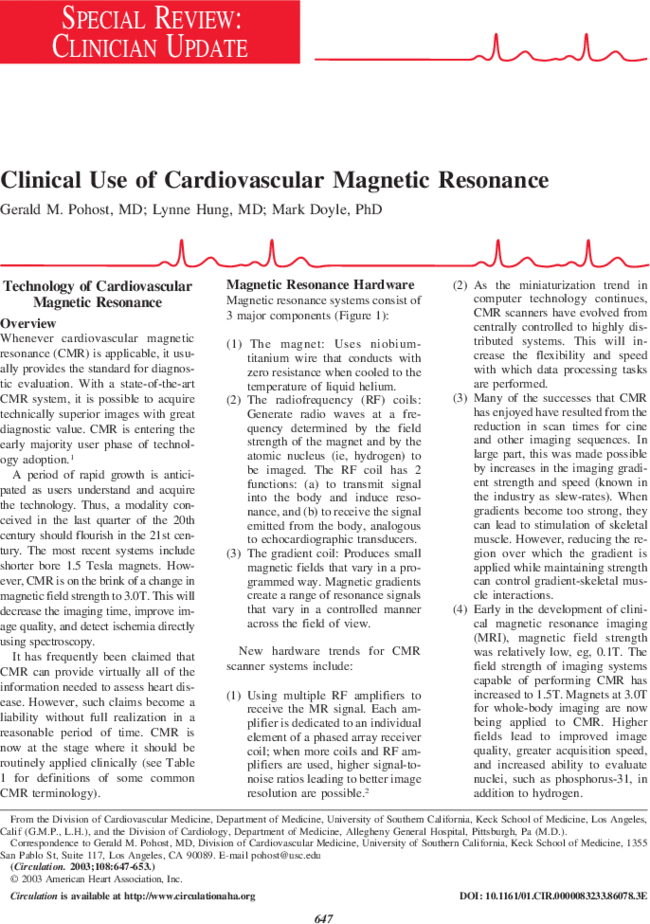 Clinical Use of Cardiovascular Magnetic Resonance | Circulation