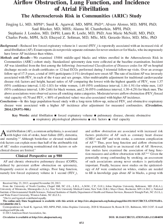 Airflow Obstruction, Lung Function, and Incidence of Atrial