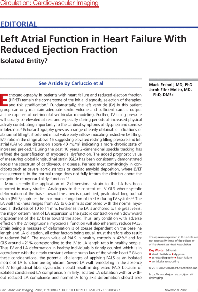 Left Atrial Function In Heart Failure With Reduced Ejection Fraction