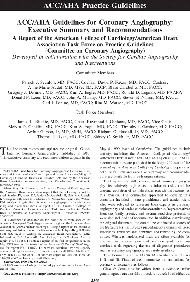 Accaha Guidelines For Coronary Angiography Executive Summary And