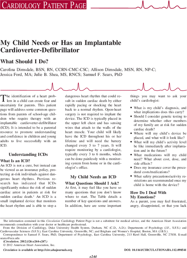 From Smart Kids With Ld April 14 2014 >> My Child Needs Or Has An Implantable Cardioverter Defibrillator