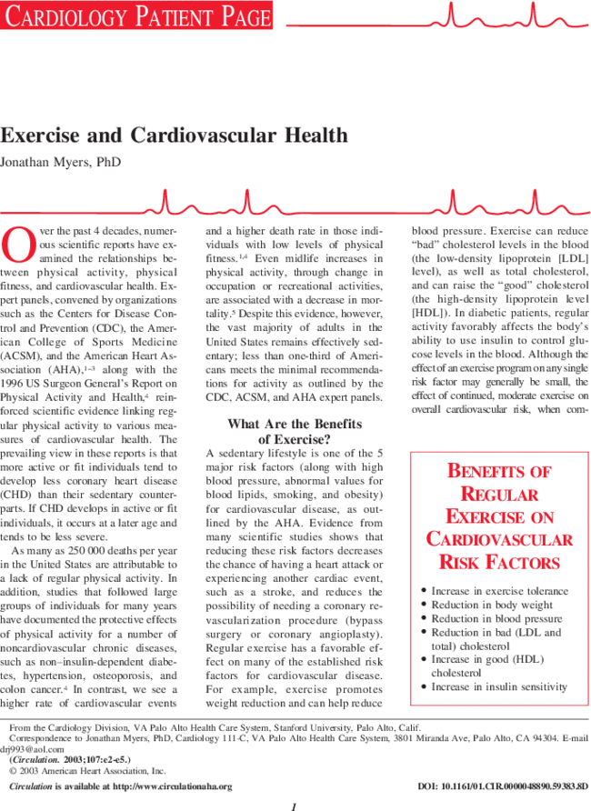 Exercise And Cardiovascular Health  Circulation First Page Image