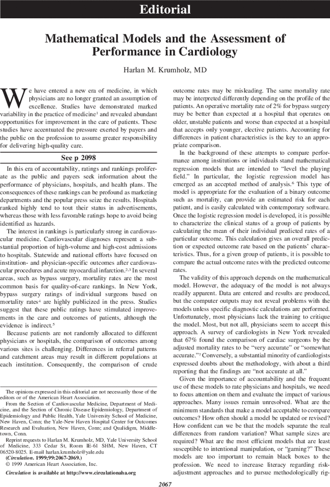 Mathematical Models And The Assessment Of Performance In Cardiology