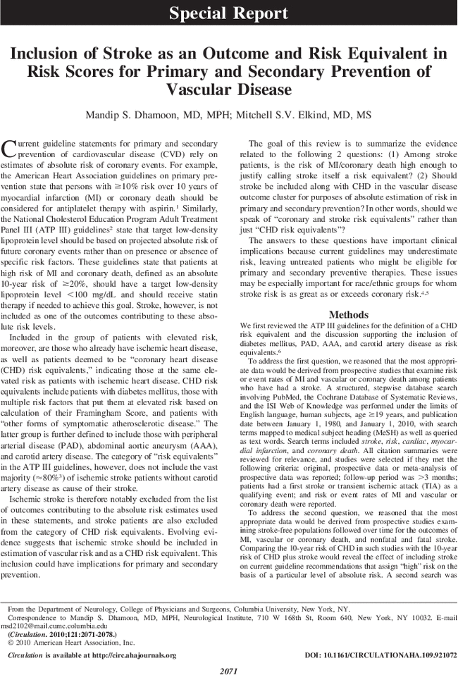 Inclusion of Stroke as an Outcome and Risk Equivalent in Risk Scores
