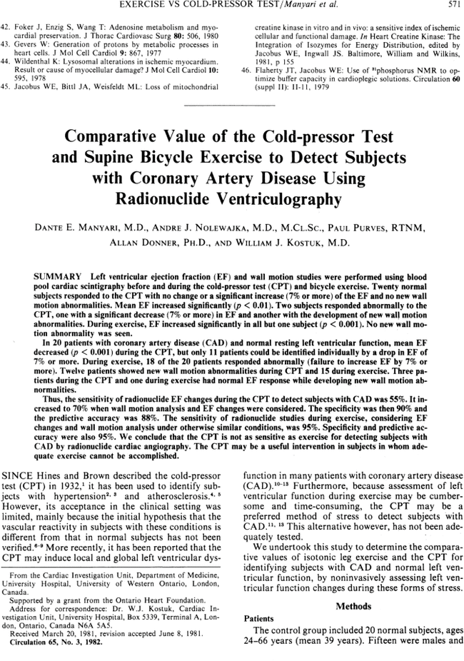 Comparative value of the cold-pressor test and supine