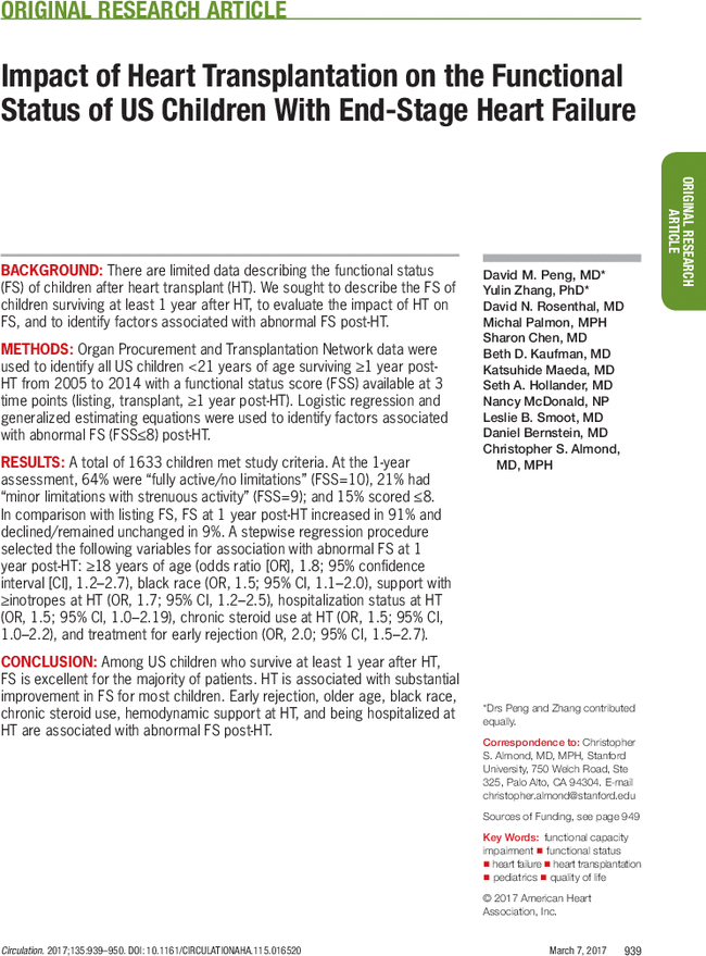 Impact of Heart Transplantation on the Functional Status of