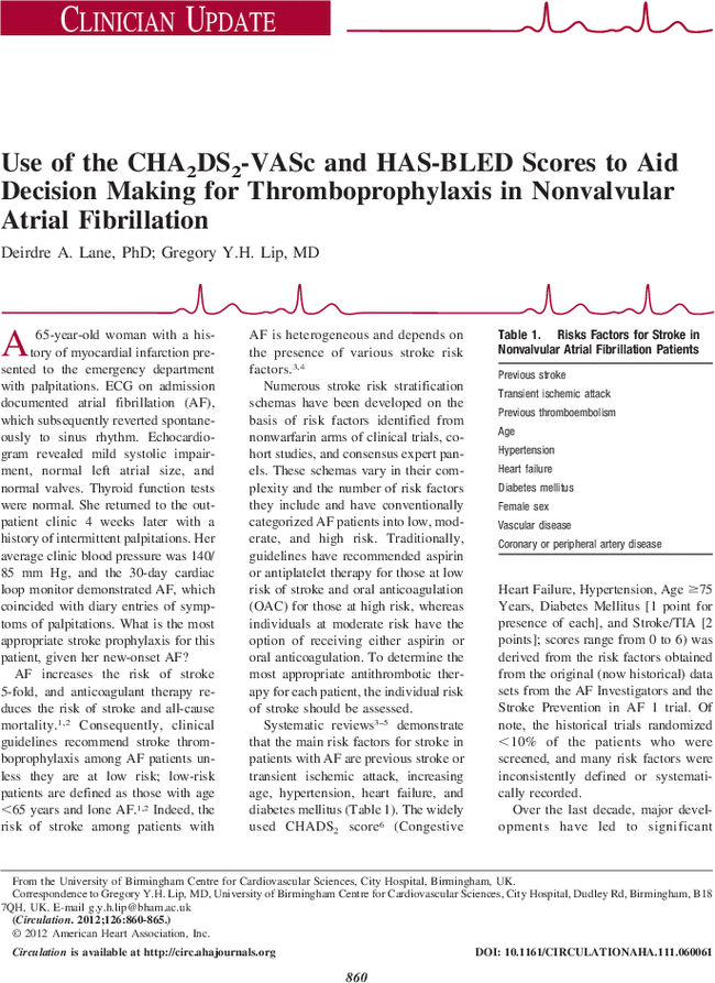 Use Of The Cha2ds2 Vasc And Has Bled Scores To Aid Decision Making