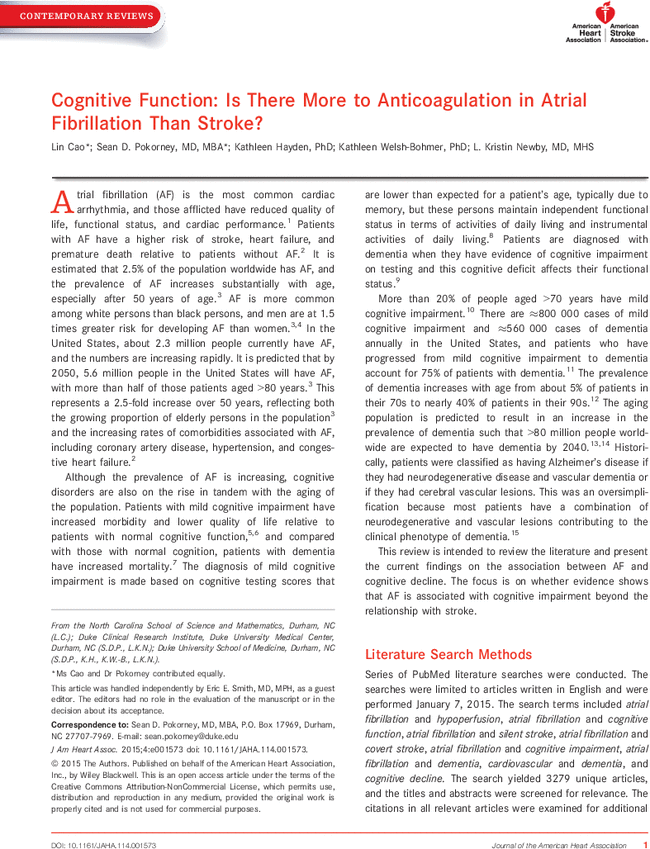 Cognitive Function: Is There More to Anticoagulation in