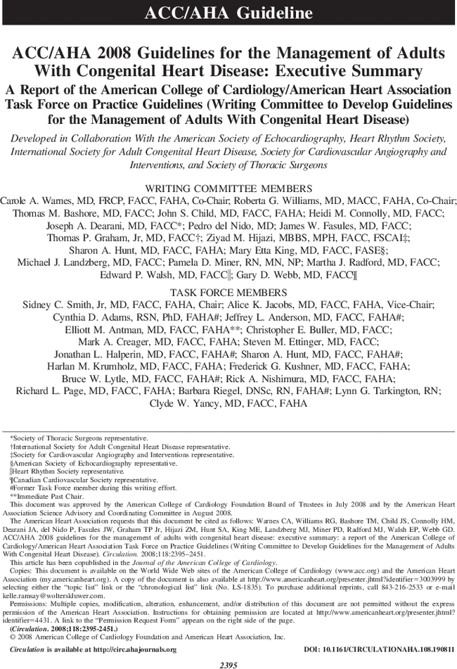 acc aha 2008 guidelines for the management of adults with congenital rh ahajournals org