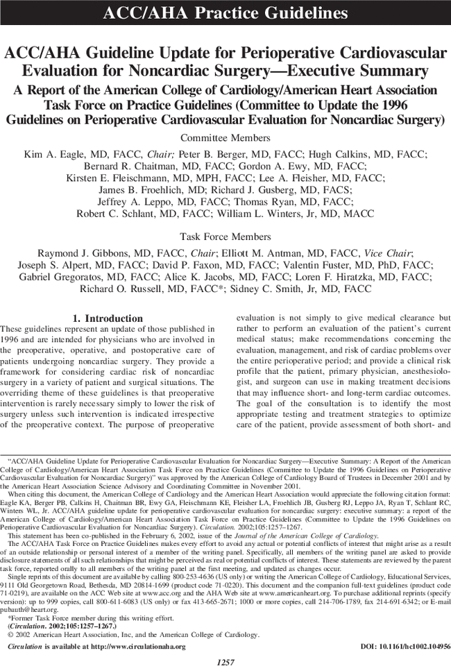 acc aha guideline update for perioperative cardiovascular evaluation rh ahajournals org