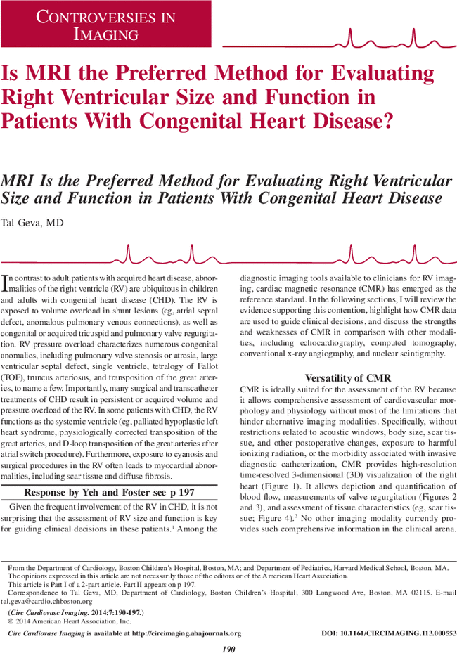 is mri the preferred method for evaluating right ventricular size rh ahajournals org