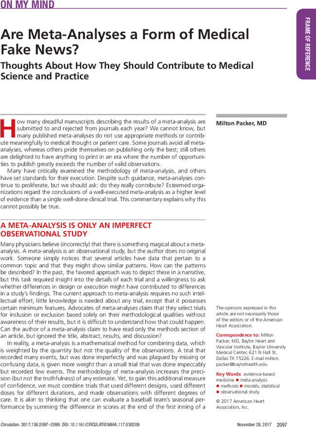 Are Meta Analyses A Form Of Medical Fake News Circulation