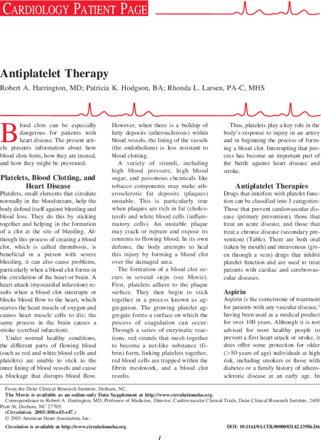 Antiplatelet Therapy | Circulation