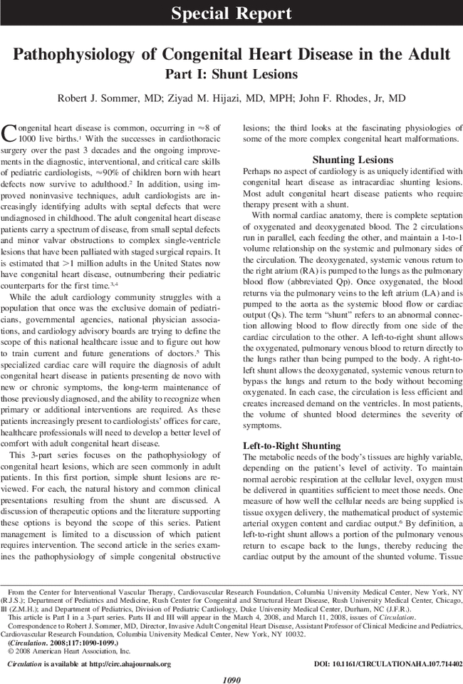 Pathophysiology Of Congenital Heart Disease In The Adult Circulation