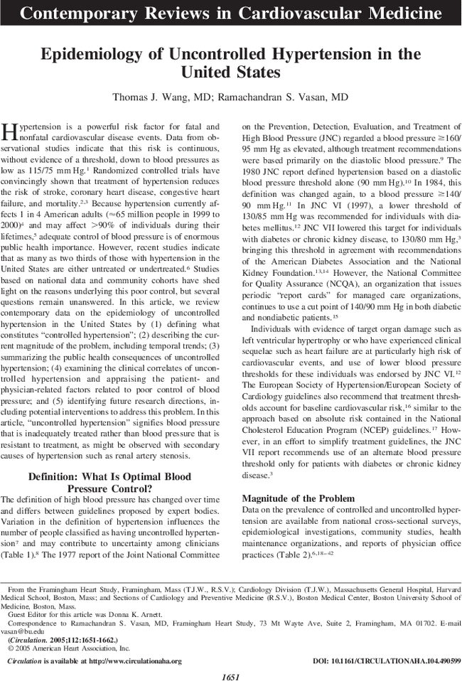 review of literature on hypertension