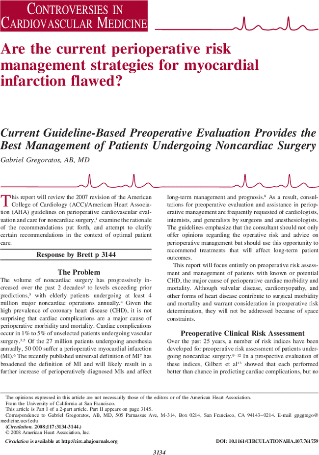 Current Guideline-Based Preoperative Evaluation Provides the