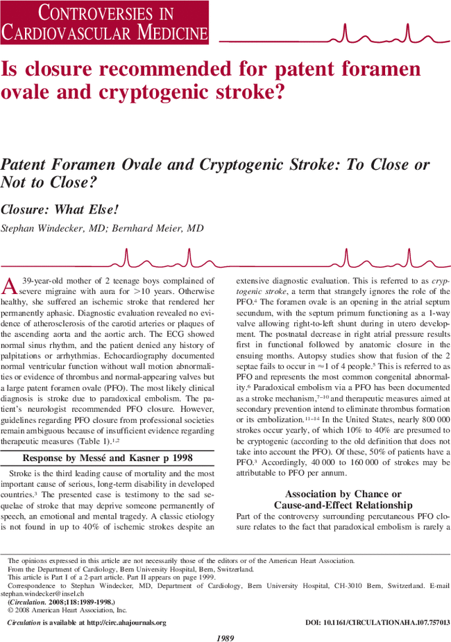 Patent Foramen Ovale And Cryptogenic Stroke To Close Or Not To