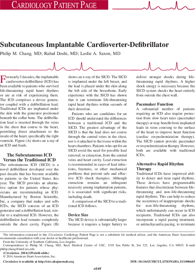 Subcutaneous Implantable Cardioverter-Defibrillator