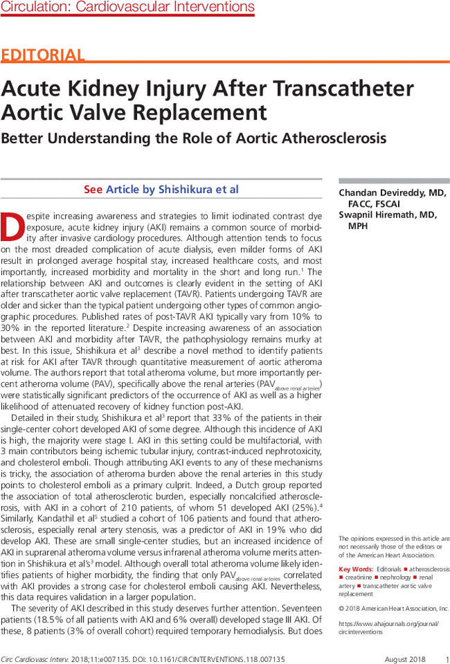 Acute Kidney Injury After Transcatheter Aortic Valve